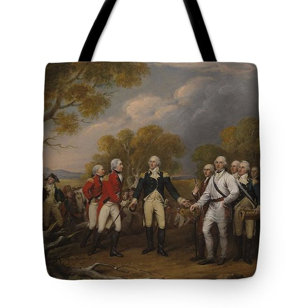 Battle Of Saratoga, The British General John Burgoyne Surrendering Tote Bag