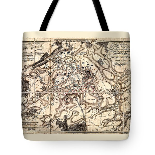 Battle Of Waterloo Old Map Tote Bag