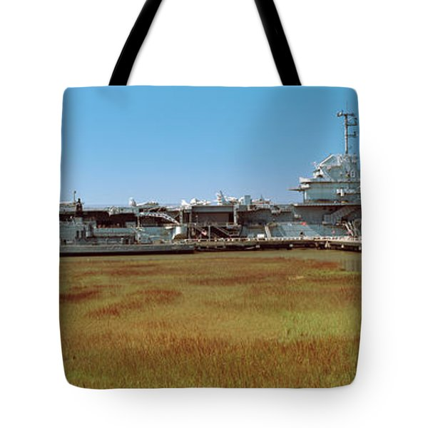 Battleship At A Museum, Patriots Point Tote Bag