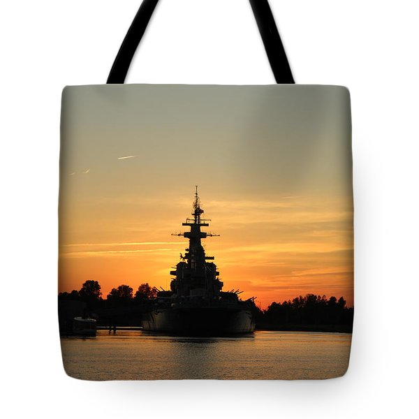 Tote Bag featuring the photograph Battleship At Sunset by Cynthia Guinn