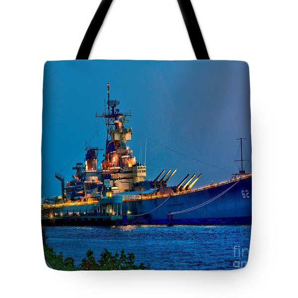 Battleship New Jersey At Night Tote Bag