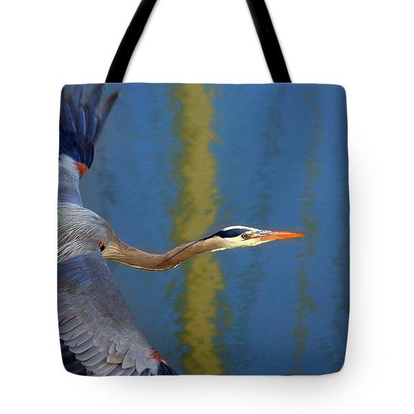 Bay Blue Heron Flight Tote Bag
