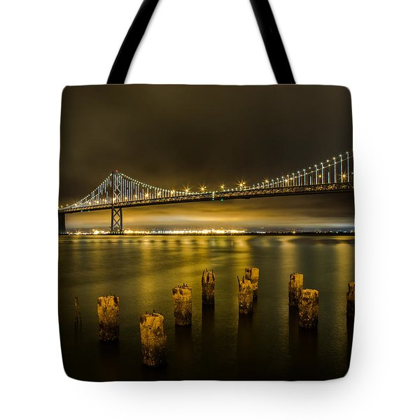 Bay Bridge And Clouds At Night Tote Bag