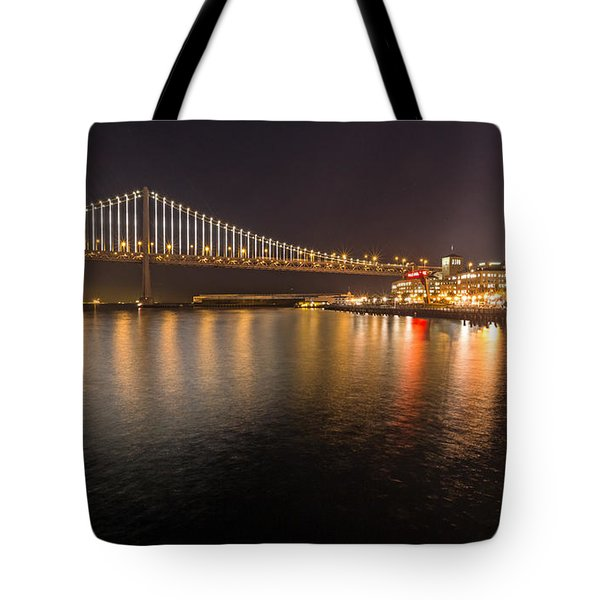 Tote Bag featuring the photograph Bay Bridge Lights And City by Kate Brown