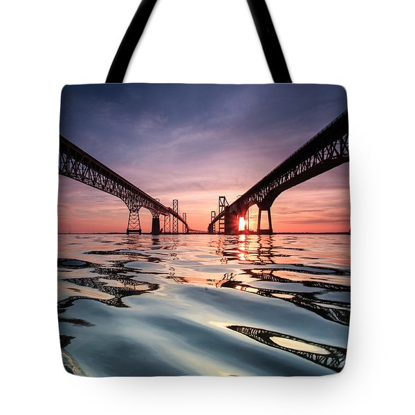 Tote Bag featuring the photograph Bay Bridge Reflections by Jennifer Casey