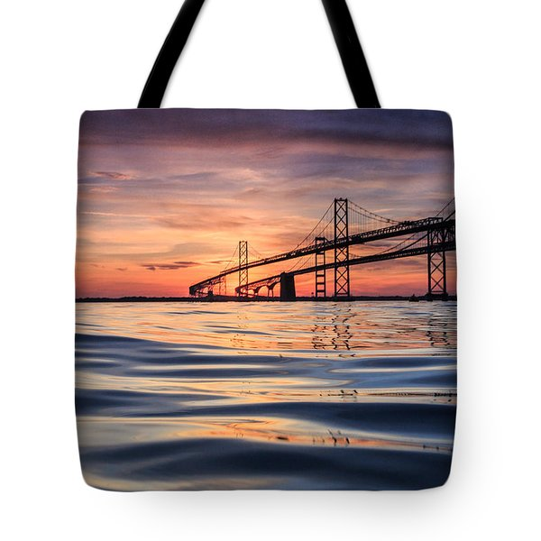 Tote Bag featuring the photograph Bay Bridge Silk by Jennifer Casey