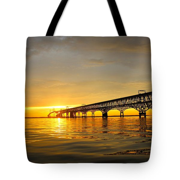 Tote Bag featuring the photograph Bay Bridge Sunset Glow by Jennifer Casey