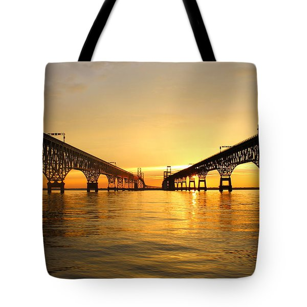 Tote Bag featuring the photograph Bay Bridge Sunset by Jennifer Casey