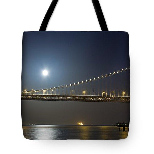 Bay Bridge Supermoon Tote Bag