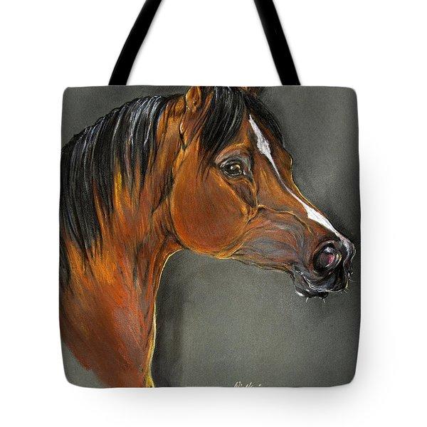 Bay Horse Portrait Tote Bag by Angel  Tarantella