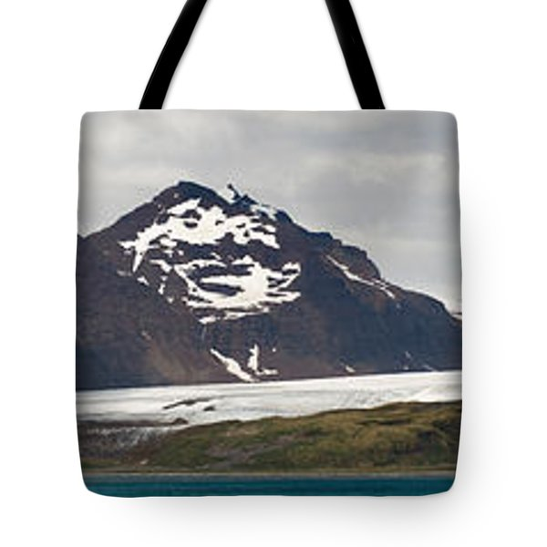 Bay In Front Of Snow Covered Mountains Tote Bag
