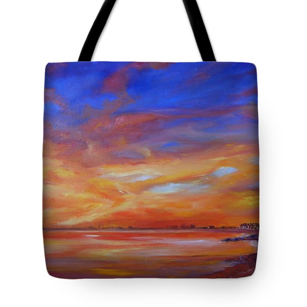 Bay Of Hythe On Fire Tote Bag