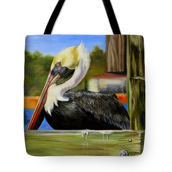 Tote Bag featuring the painting Bay St. Louis Pelican by Phyllis Beiser