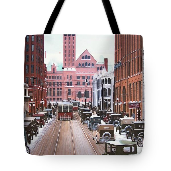 Bay Street Christmas Eve 1924 Tote Bag by Kenneth M  Kirsch