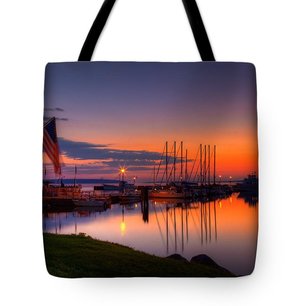 Bayfield Wisconsin Fire In The Sky Over The Harbor Tote Bag