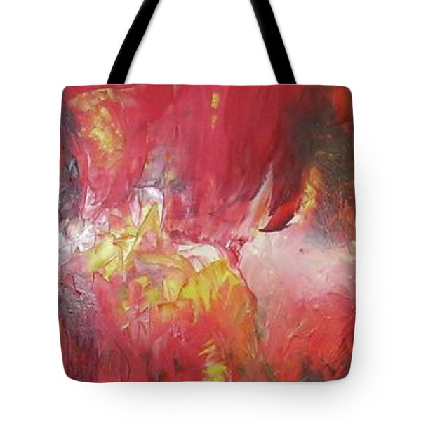 Tote Bag featuring the painting Bayley - Exploding Star Nebuli by Carrie Maurer