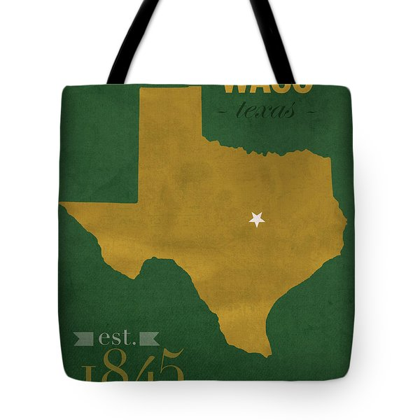 Baylor University Bears Waco Texas College Town State Map Poster Series No 018 Tote Bag by Design Turnpike