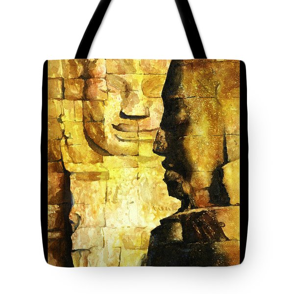 Bayon Khmer Temple At Angkor Wat Cambodia Tote Bag by Ryan Fox