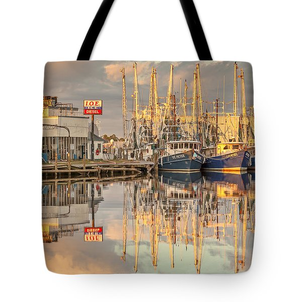 Bayou La Batre' Al Shrimp Boat Reflections 39 Tote Bag