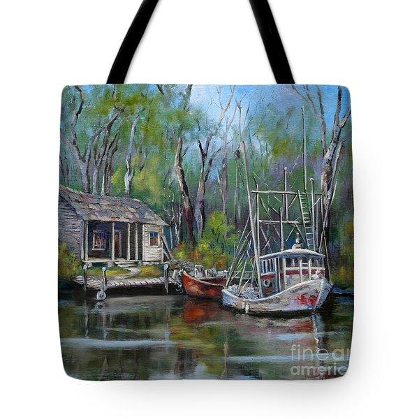 Bayou Shrimper Tote Bag by Dianne Parks