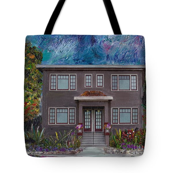 Tote Bag featuring the mixed media Alameda Bayview 1926 - Colonial Revival by Linda Weinstock
