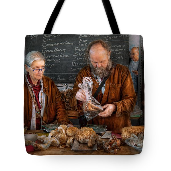 Bazaar - We Sell Fresh Mushrooms Tote Bag by Mike Savad