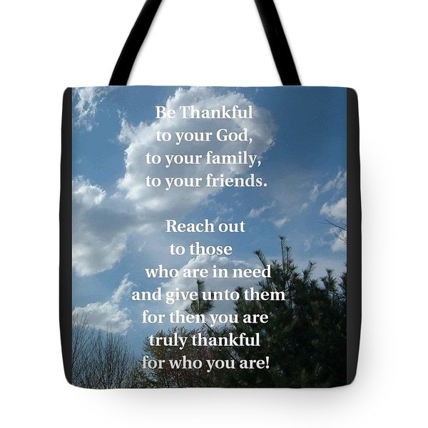 Be Thankful Tote Bag by Mary Armstrong