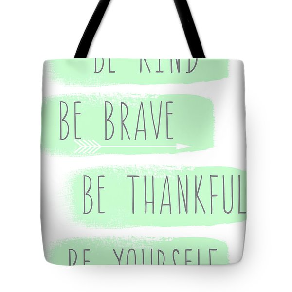 Be Yourself- Mint And White Inspirational Art Tote Bag
