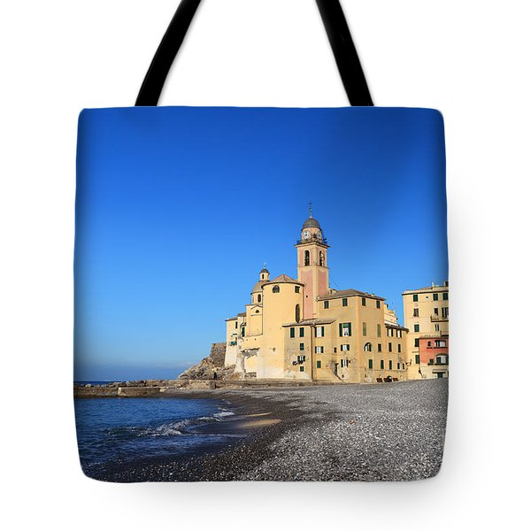 Tote Bag featuring the photograph beach and church in Camogli by Antonio Scarpi