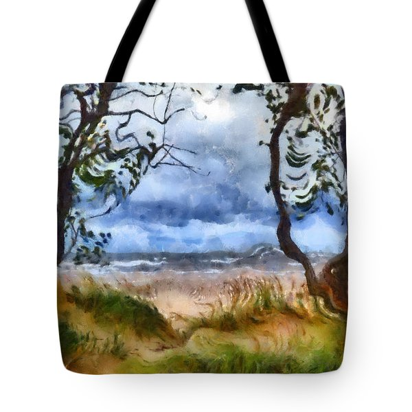 Beach And Trees Tote Bag