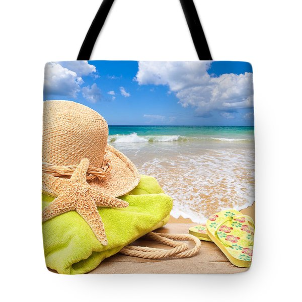 Beach Bag With Sun Hat Tote Bag by Amanda Elwell