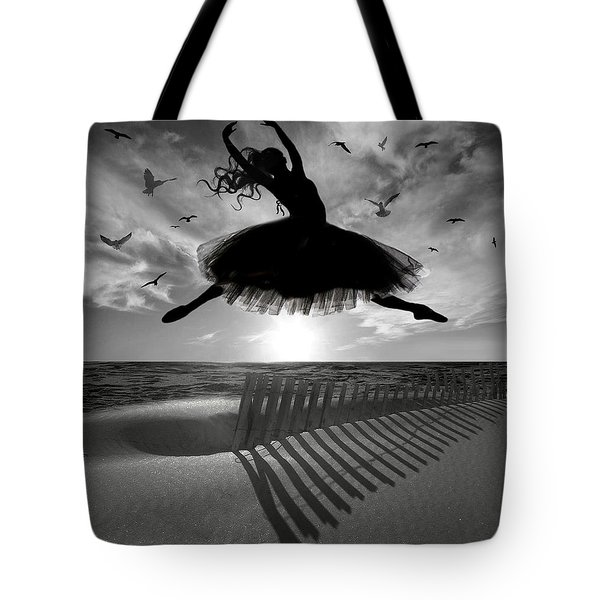 Beach Ballerina Tote Bag by Nina Bradica