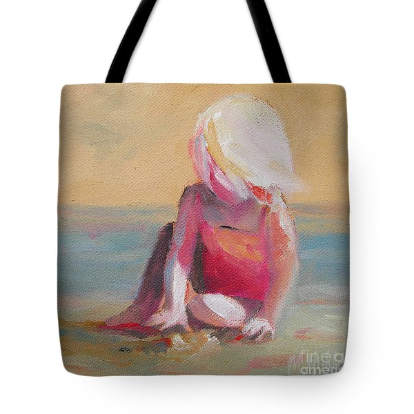 Beach Blonde Girl In The Sand Tote Bag