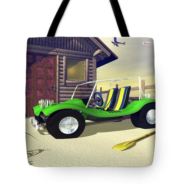Tote Bag featuring the digital art Beach Buggy by John Pangia