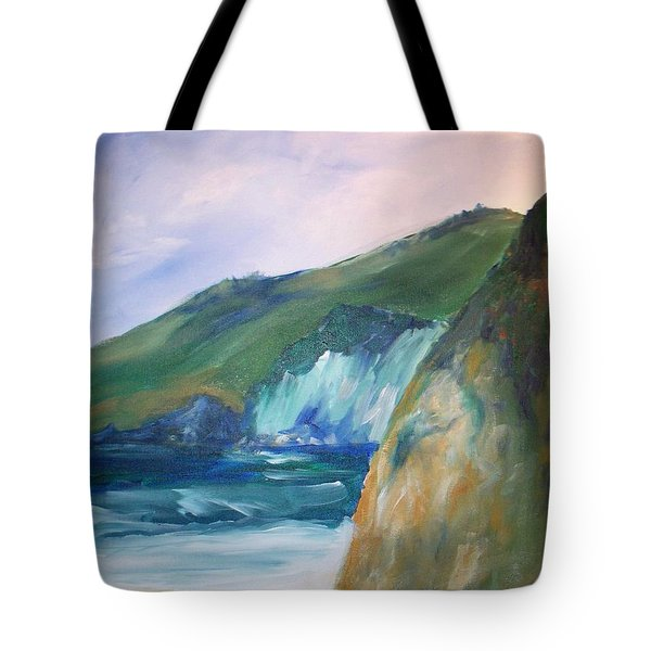 Tote Bag featuring the painting Beach California by Eric  Schiabor