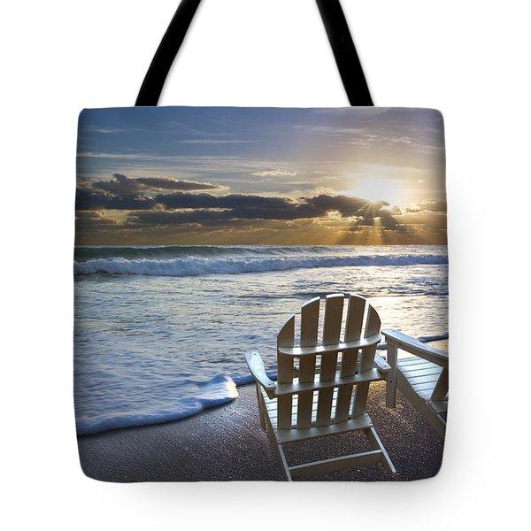Beach Chairs Tote Bag by Debra and Dave Vanderlaan