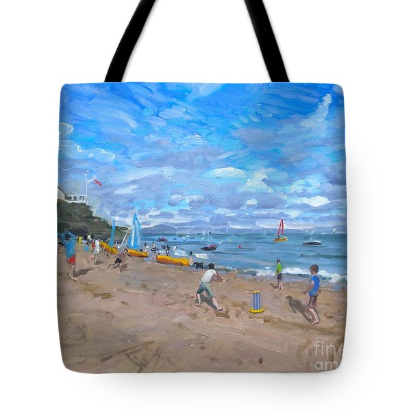 Beach Cricket Tote Bag by Andrew Macara