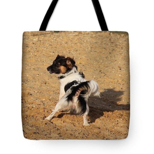 Beach Dog Pose Tote Bag