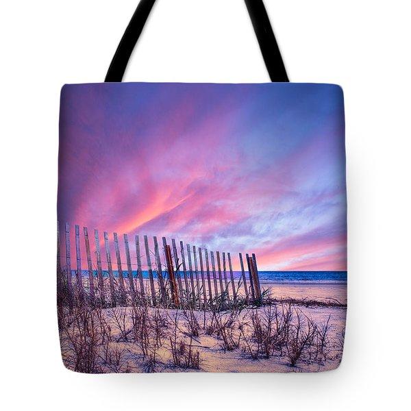 Beach Fences Tote Bag by Debra and Dave Vanderlaan