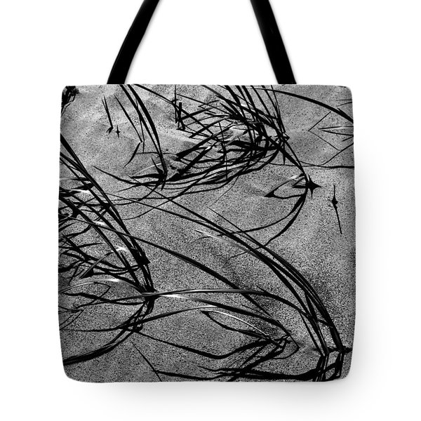 Beach Grass Black And White Tote Bag