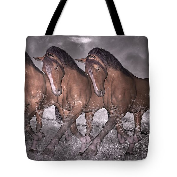 Beach Horse Trio Night March Tote Bag by Betsy Knapp