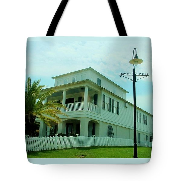 Beach House - Bay Saint Louis Mississippi Tote Bag by Deborah Lacoste