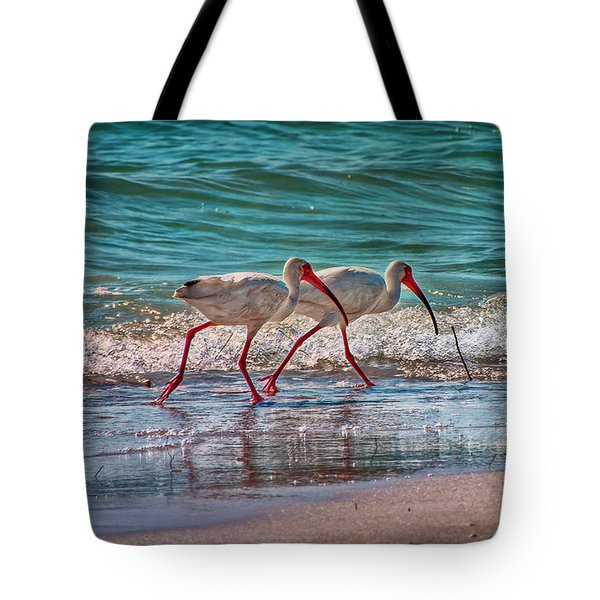 Beach Jogging In Twos Tote Bag by Hanny Heim