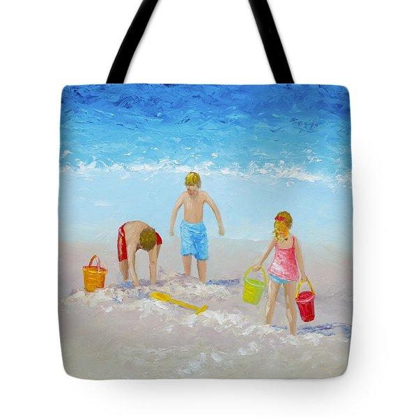 Beach Painting - Sandcastles Tote Bag