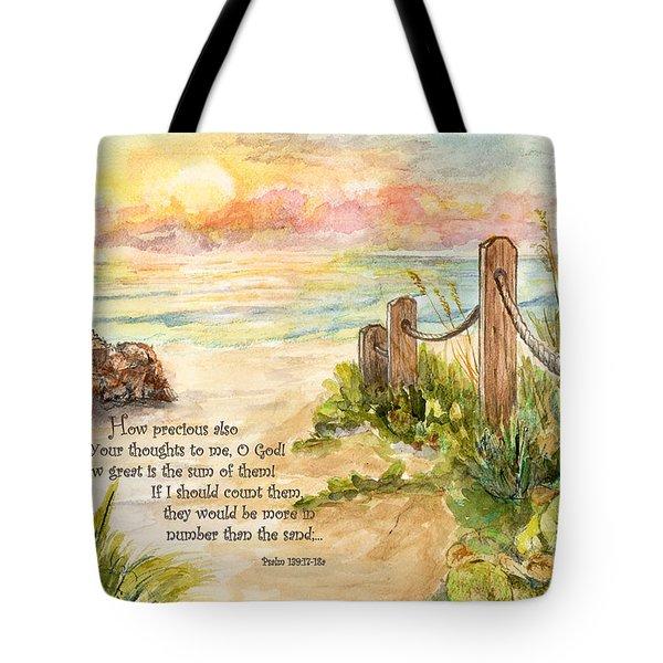 Beach Post Sunrise Psalm 139 Tote Bag