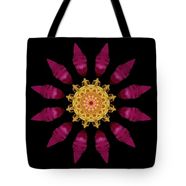 Beach Rose Iv Flower Mandala Tote Bag