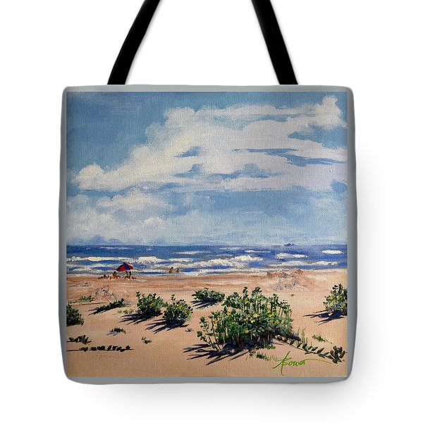 Beach Scene On Galveston Island Tote Bag