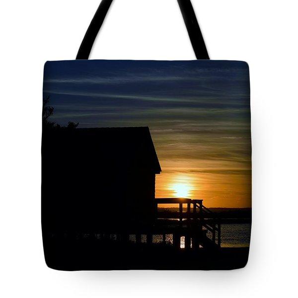 Beach Shack Silhouette Tote Bag
