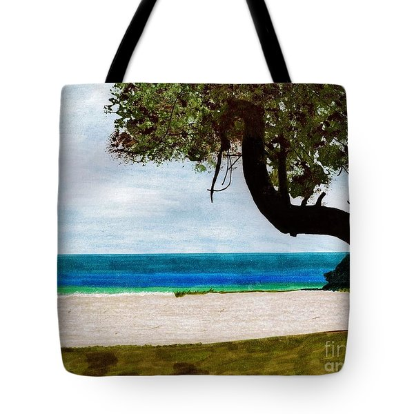 Tote Bag featuring the drawing Beach Side by D Hackett