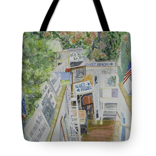 Tote Bag featuring the painting Beach Signs by Carol Flagg